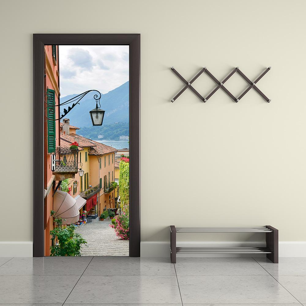 Wall Door Sticker Self Adhesive Peel & Stick Wrap Mural for Home Shop Bar Decor Town Street 2PCS