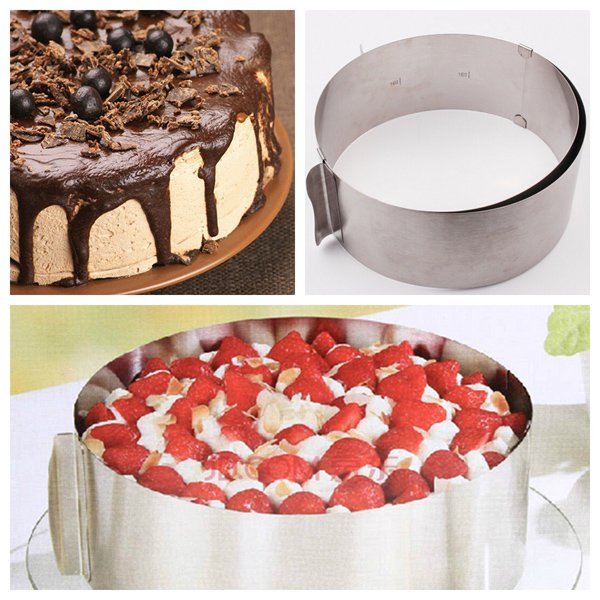 6 to 12 Inch Stainless Steel Adjustable Mousse Cake Ring Baking Mold