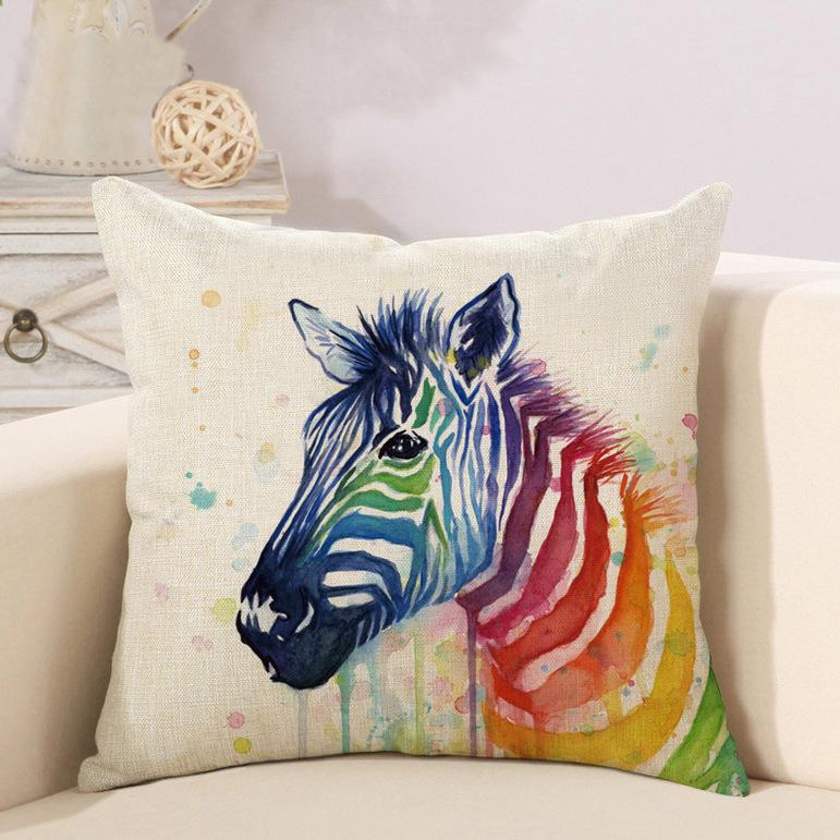 Animal With Rainbow Print Lovely Pillow Case Car Home Sofa Bed Decor