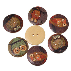 100 Pcs Mixed 2 Holes Owl Pattern Wood Sewing Buttons Scrapbooking Round 15mm