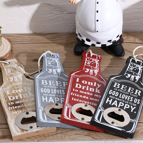 Creative Wooden Beer Opener Restaurant Beer Bottle Opener Hotel Wall Mounted Wine Opener