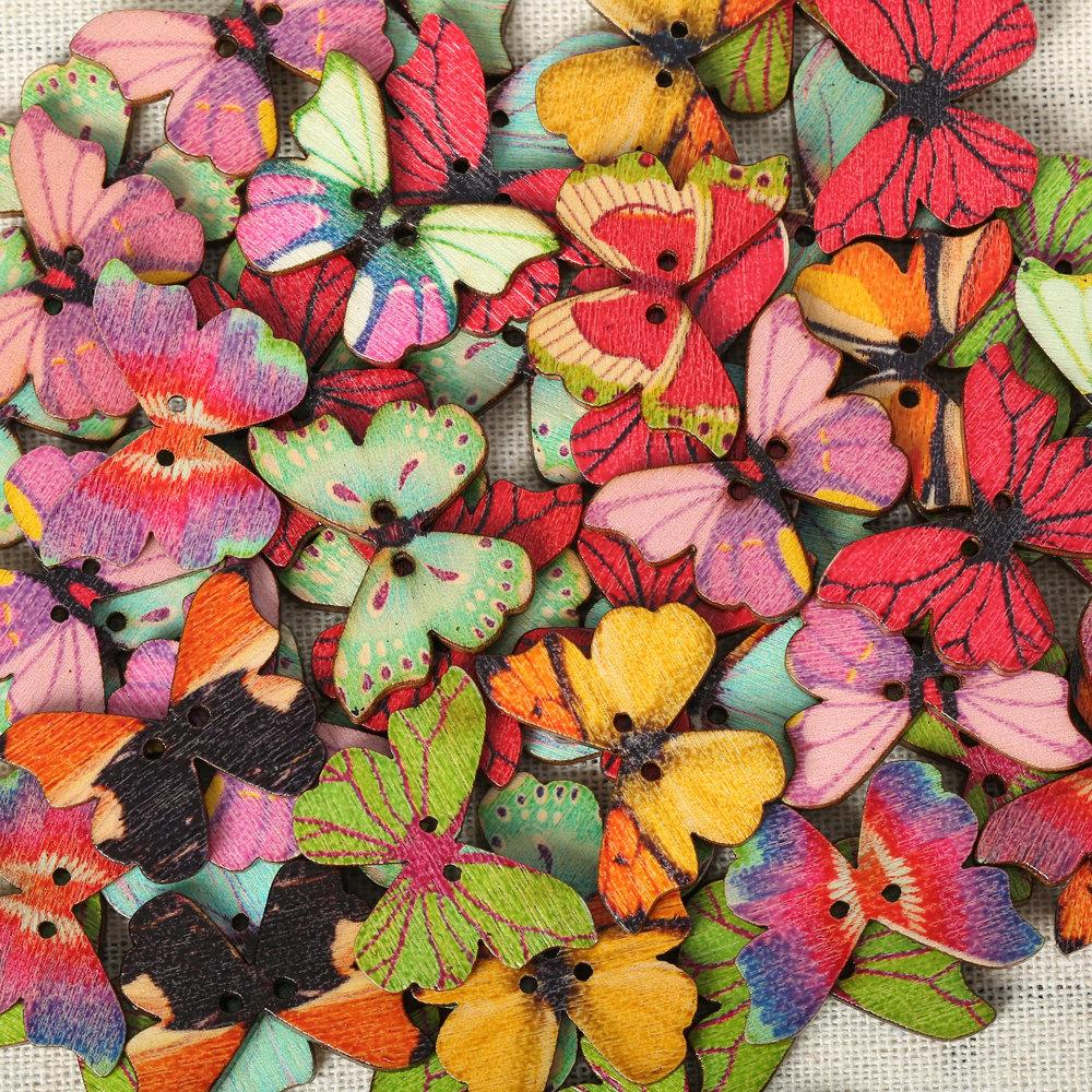 50Pcs Colorful Butterfly Wooden Sewing Buttons for DIY Craft Bag Hat Clothes Decoration