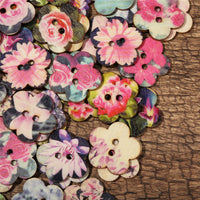 100pcs Flower Shaped Painted Plum Wooden Decoration Sewing Buttons