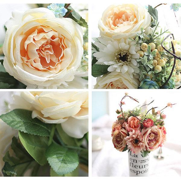 Real Touch Rose Artificial Fake Flowers Plants Bouquet Bridal Party Wedding Home Decor