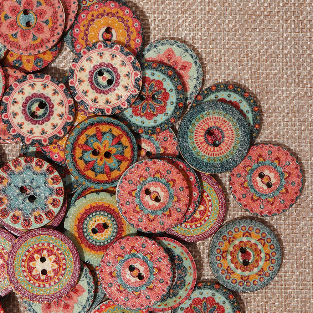 100Pcs Mix Indian Bohemian Wooden Buttons Colorful Washable Round Decorative Sewing Buttons