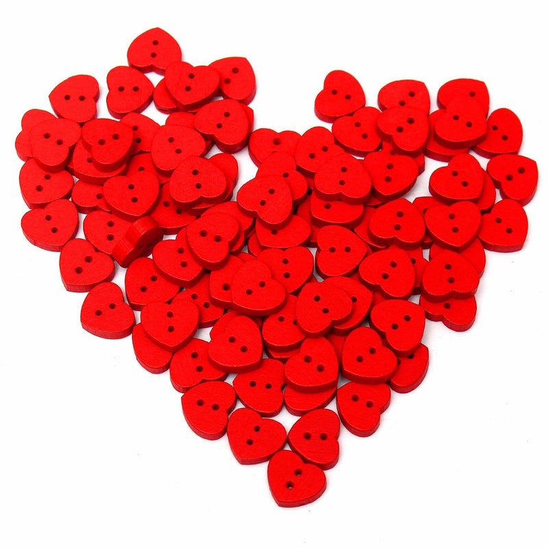 100pcs Wooden Red Heart-shape Sewing Buttons DIY Craft Baby Clothes Hat Decoration Sewing Button