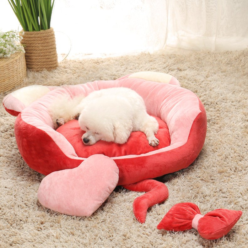 Lovely Cat Shape Crystal Velvet Pet Sleeper Kennel Bed Dog Cat Soft Round Bed