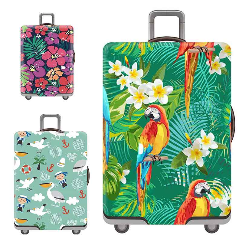 Luggage Covers Flower Pattern Elastic Thickening Stretch Trolley Case Dust Cover Luggage Covers