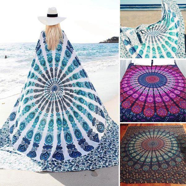 Bohemian Style Thin Chiffon Beach Towel Mandala Rectangle Bed Sheet Tapestry