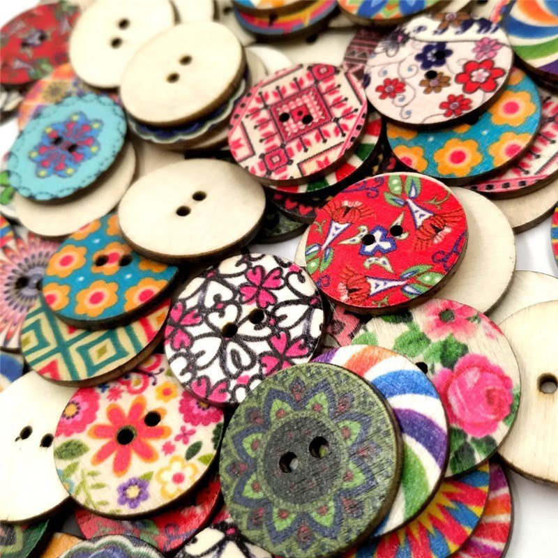 100pcs 20mm Vintage Flower Painted Wooden Buttons Two Eyes Decoration Sewing Buttons DIY Materials