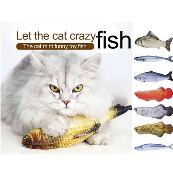 Pet Cat Fish Shape Plush Toys with Catnip Pet Kitten Mint Coated Play Interactive Doll Toy