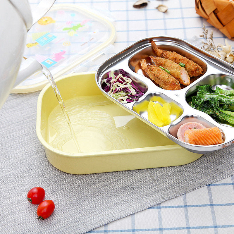 Stainless Steel Lunch Box for School Lunch Bento Containers Rectangle Cartoon 5 Compartments
