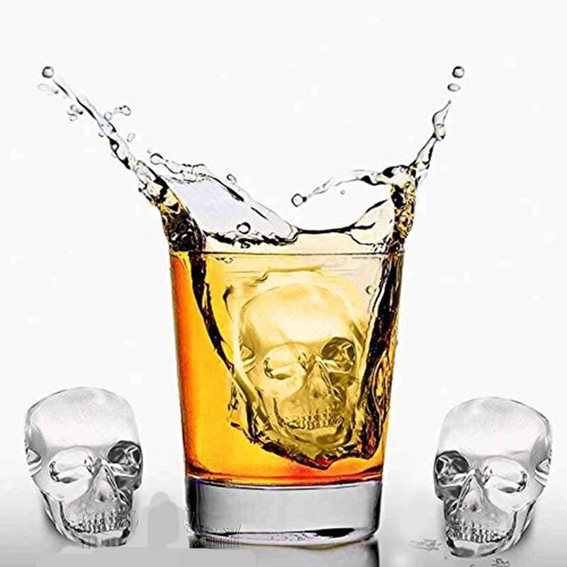 3D Shaped Ice Cube Tray Silicone Skull Mold with Lids Make Cool Drink Whiskey Wine Cocktail 6pcs