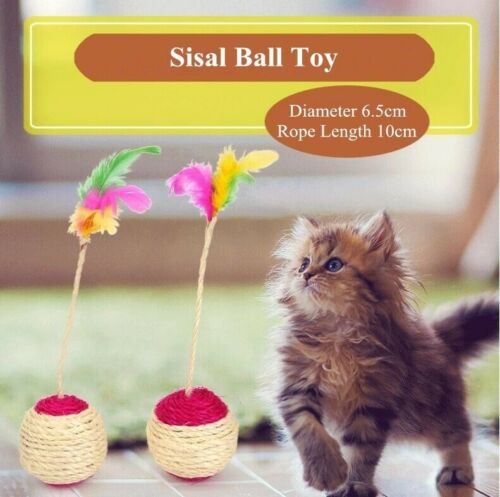 Pet Toy Cat Claw Scratching Shuttlecock Ball Sisal Feather Toy Ball