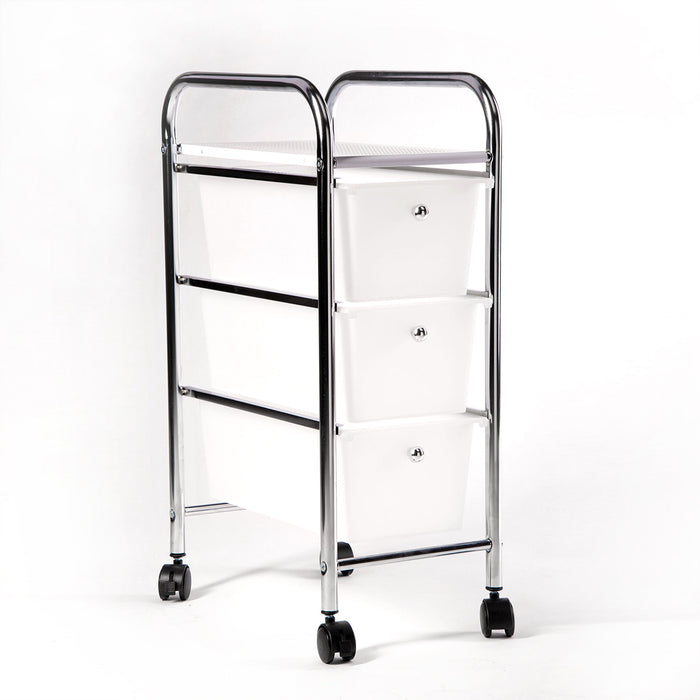 Storage trolley (Chrome) 3 draw small (white)
