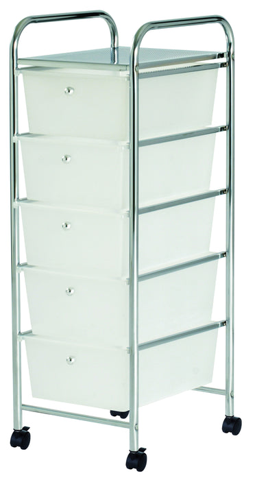 Storage Trolley (Chrome) 5 draw large (white)