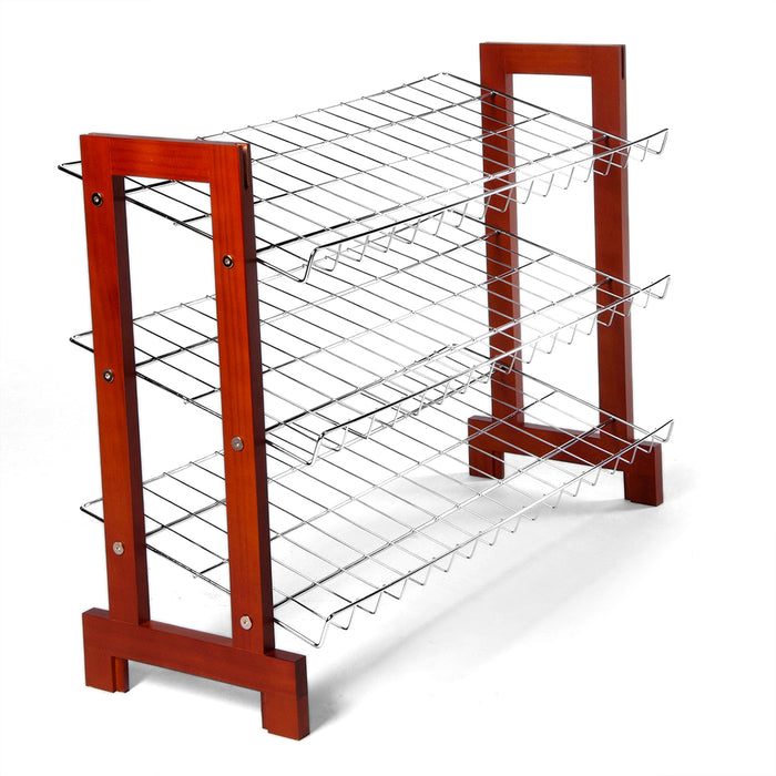 Sloping Shoe Rack (Chrome Plated Shelves) wood ends 3 tier