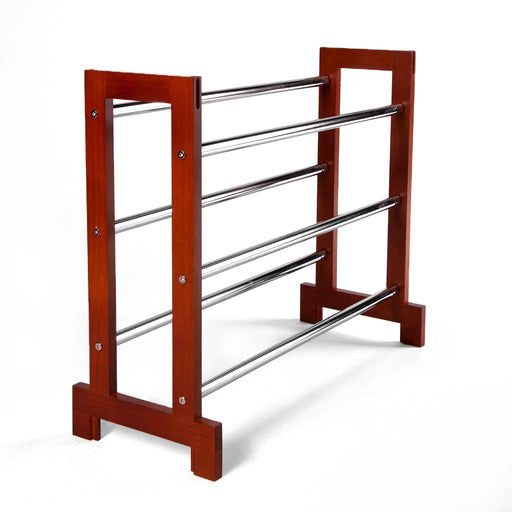 Sloping Shoe Rack (Chrome Plated Shelves) Wood ends 3 tier extendable