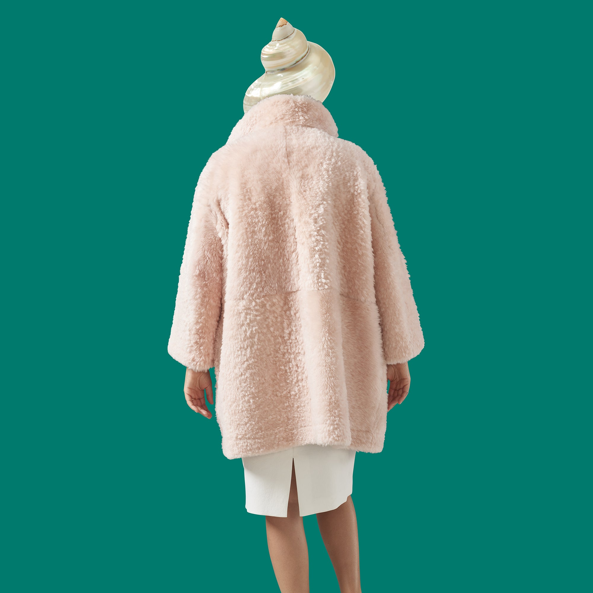 Nat Coat in Cotton Candy Shearling