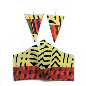 Tribal Kente Earring & Face Mask Set