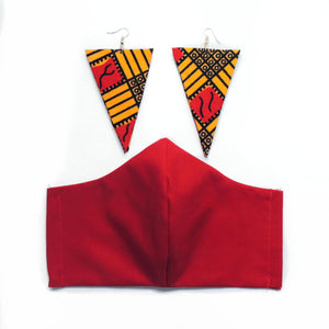 Red African Print Earring & Face Mask Set