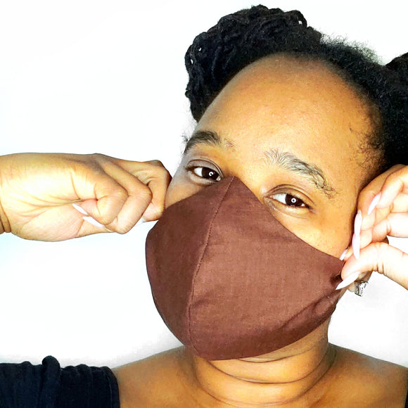 Brown Fabric Face Mask