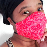 Red Swirl Fabric Face Mask
