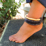 black and gold ankle bracelet