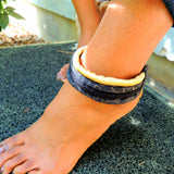 black fabric ankle bracelet