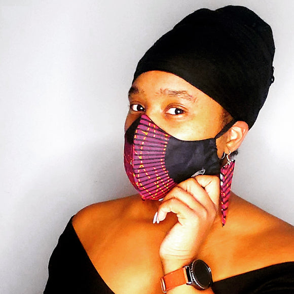 African Print Face Mask & Earring Set
