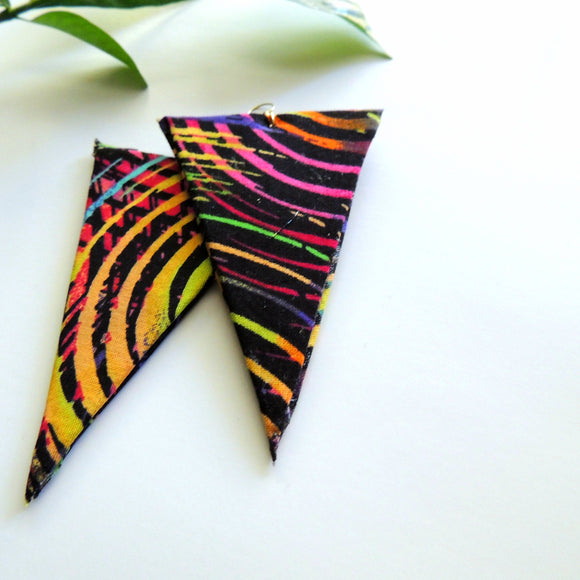 Starburst African Print Triangular Earrings