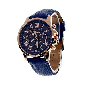 Geneva Ladies Matching Dress Style Leather Watch - Blue