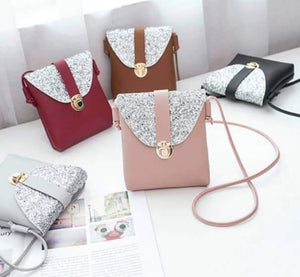 Leather Plus Glitters Side Bag