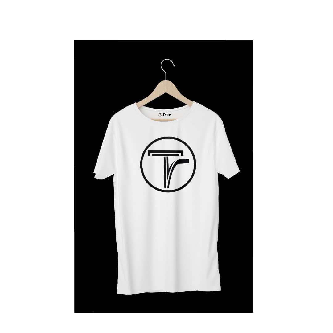 White Tribe Tshirt With Round Black Design