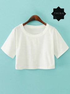 Female Plain Crop Top Design - Black and White Available