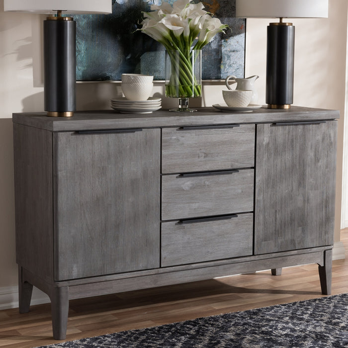 Braxton Silverfish Platinum Wood 3-DRAWER Sideboard Buffet