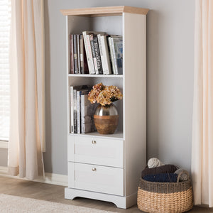 BAXTON ANNA Oak And White Bookcase - Sandcastle Home