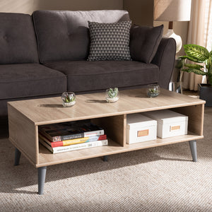Pierre Oak and Light Grey Finish Coffee Table - Sandcastle Home
