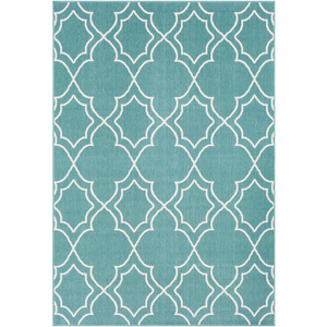 Alfresco Teal and White Area Rug - Sandcastle Home