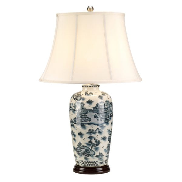 Blue Traditional Willow Table Lamp