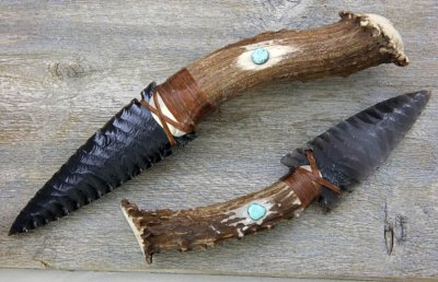 Deer Antler Obsidian Knife with Turquoise