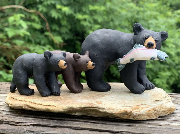 Black Bear with Cubs and Salmon