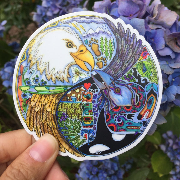 Eagle & Raven (Lovebirds) Sticker by Sue Coccia