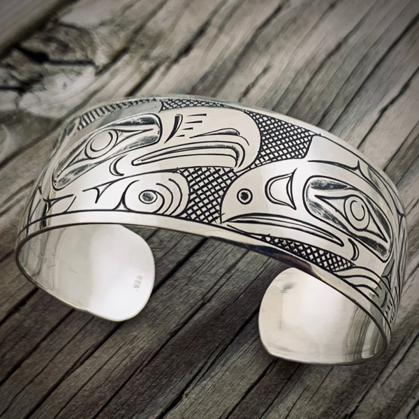 "Lovebirds 6"" Silver Bracelet by Greg Horner"