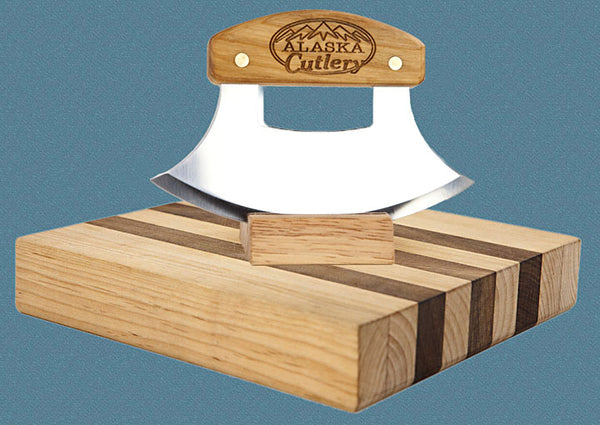 Birch Ulu Knife with Bowl Set & DVD - Alaska Cutlery