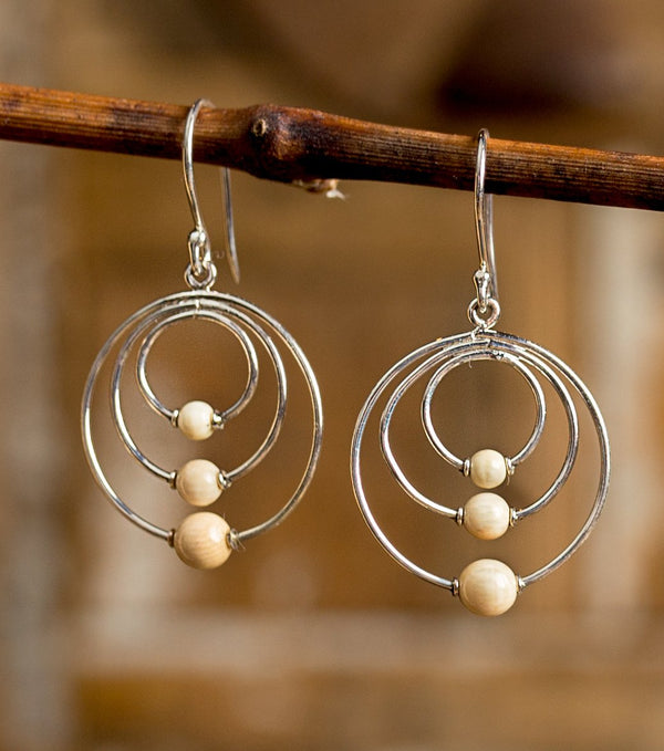 Mammoth Ivory Triple Round Bead Earrings