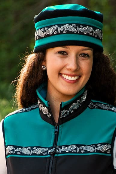 Aurora Salmon Hat- Black and Turquoise
