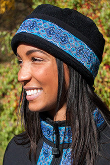 AURORA HAT Solid Black, Tres Belle-Blue(trim)