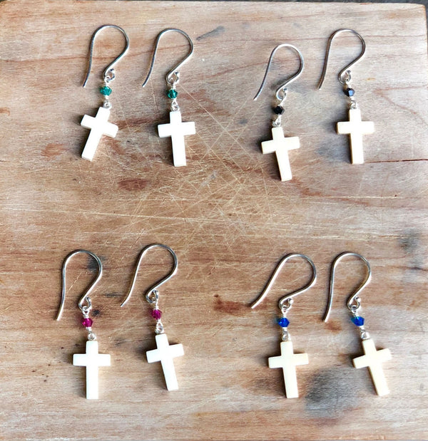 Mammoth Ivory Cross Earrings