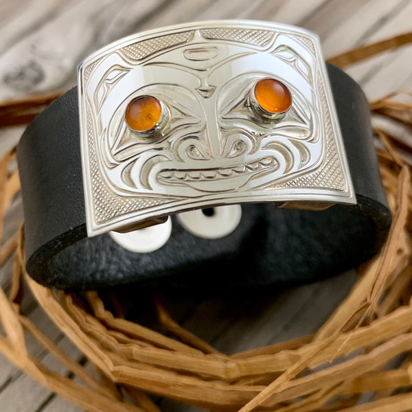 Bear Silver-Leather Bracelet - Small